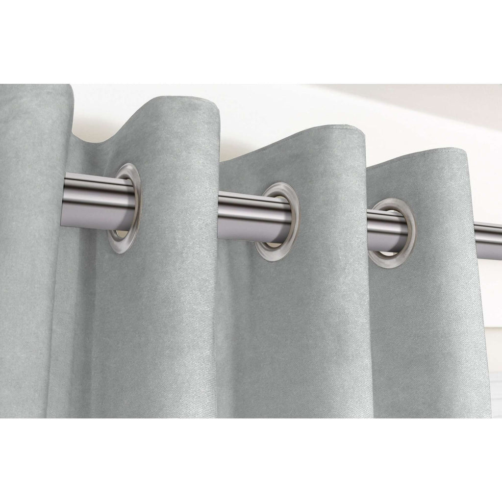 "McAlister Textiles Matt Dove Grey Velvet Curtains Tailored Curtains 116cm(w) x 182cm(d) (46"" x 72"")"