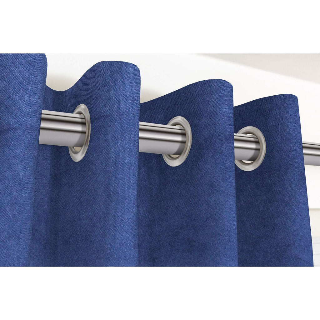 "McAlister Textiles Matt Navy Blue Velvet Curtains Tailored Curtains Pencil Pleat Standard Lining 116cm(w) x 137cm(d) (46"" x 54"")"
