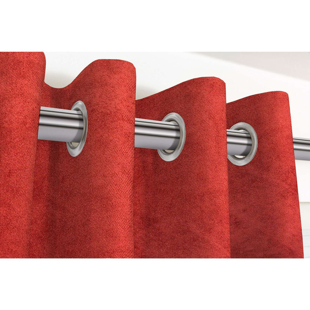"McAlister Textiles Matt Rust Red Orange Velvet Curtains Tailored Curtains 116cm(w) x 182cm(d) (46"" x 72"")"