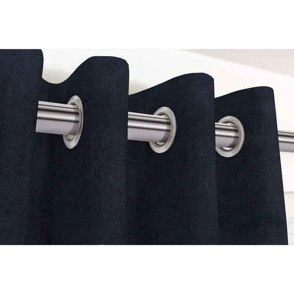 "McAlister Textiles Matt Black Velvet Curtains Tailored Curtains Pencil Pleat Standard Lining 116cm(w) x 137cm(d) (46"" x 54"")"