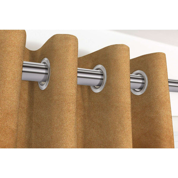 "McAlister Textiles Matt Caramel Gold Velvet Curtains Tailored Curtains Pencil Pleat Standard Lining 116cm(w) x 137cm(d) (46"" x 54"")"