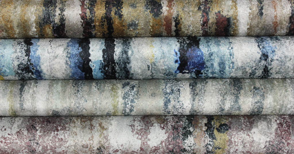 McAlister Textiles Aura Ochre Printed Velvet Throws & Runners Throws and Runners