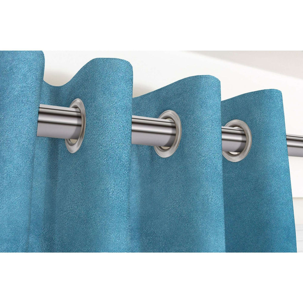 "McAlister Textiles Matt Duck Egg Blue Velvet Curtains Tailored Curtains 116cm(w) x 182cm(d) (46"" x 72"")"