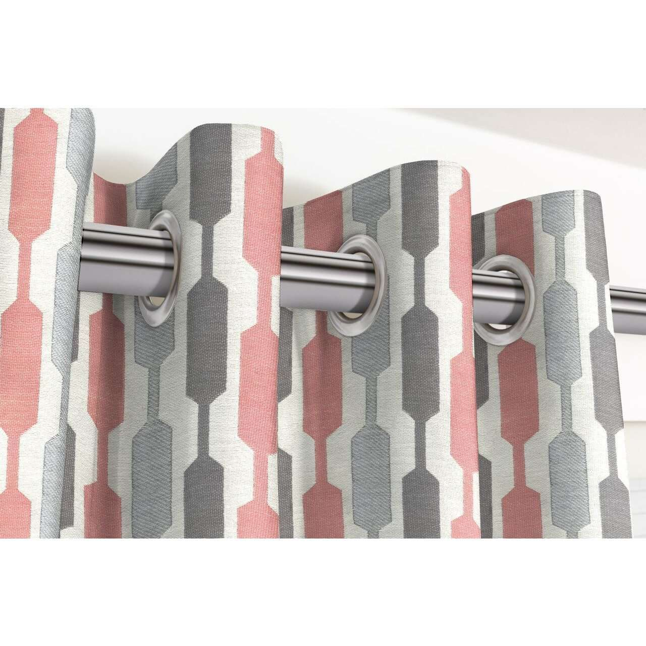 McAlister Textiles Lotta Blush Pink + Grey Curtains Tailored Curtains