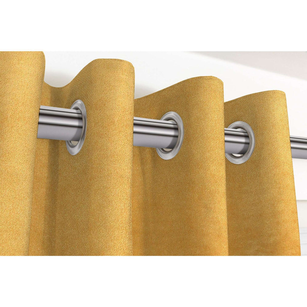 "McAlister Textiles Matt Ochre Yellow Velvet Curtains Tailored Curtains 116cm(w) x 182cm(d) (46"" x 72"")"