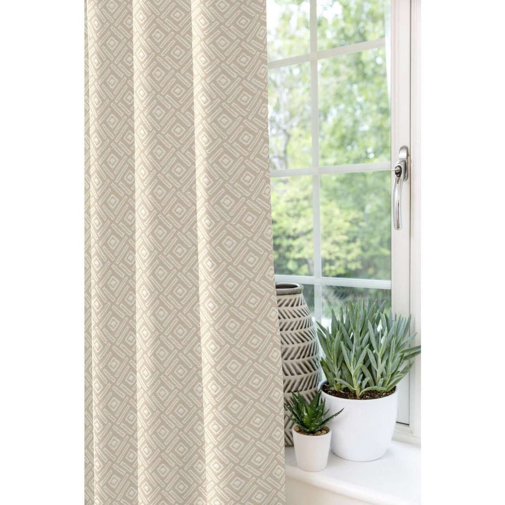 McAlister Textiles Elva Geometric Beige Grey Curtains Tailored Curtains