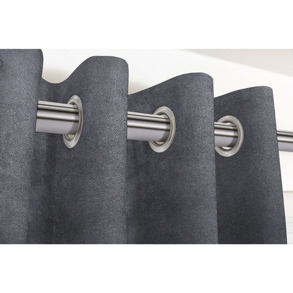 "McAlister Textiles Matt Charcoal Grey Velvet Curtains Tailored Curtains Pencil Pleat Standard Lining 116cm(w) x 137cm(d) (46"" x 54"")"