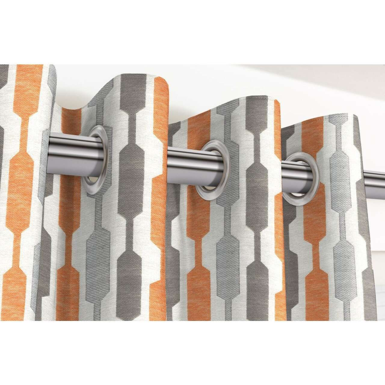 McAlister Textiles Lotta Burnt Orange + Grey Curtains Tailored Curtains