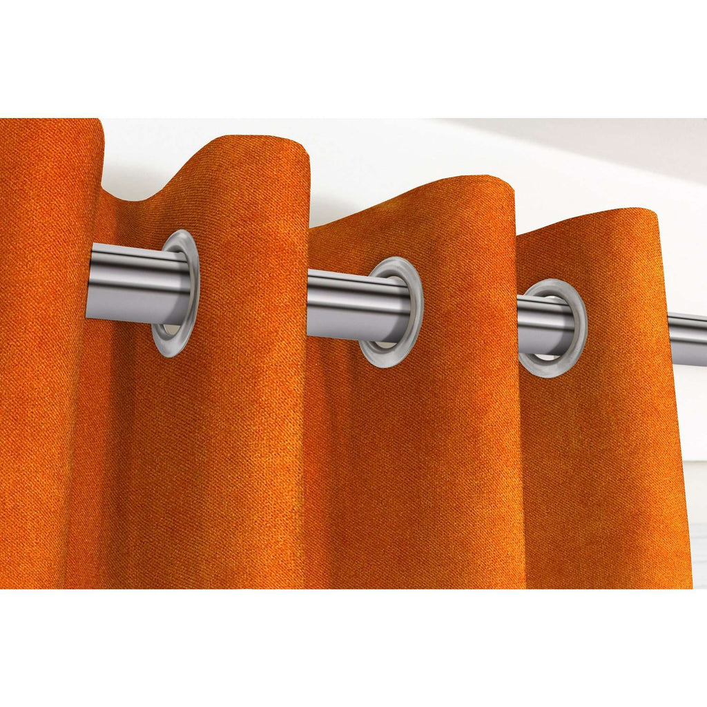 "McAlister Textiles Matt Burnt Orange Velvet Curtains Tailored Curtains 116cm(w) x 182cm(d) (46"" x 72"")"