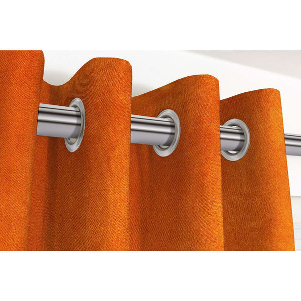 "McAlister Textiles Matt Burnt Orange Velvet Curtains Tailored Curtains Pencil Pleat Standard Lining 116cm(w) x 137cm(d) (46"" x 54"")"