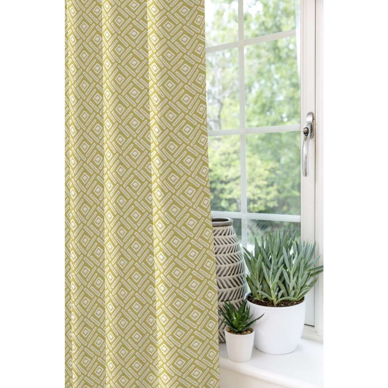 McAlister Textiles Elva Geometric Ochre Yellow Curtains Tailored Curtains
