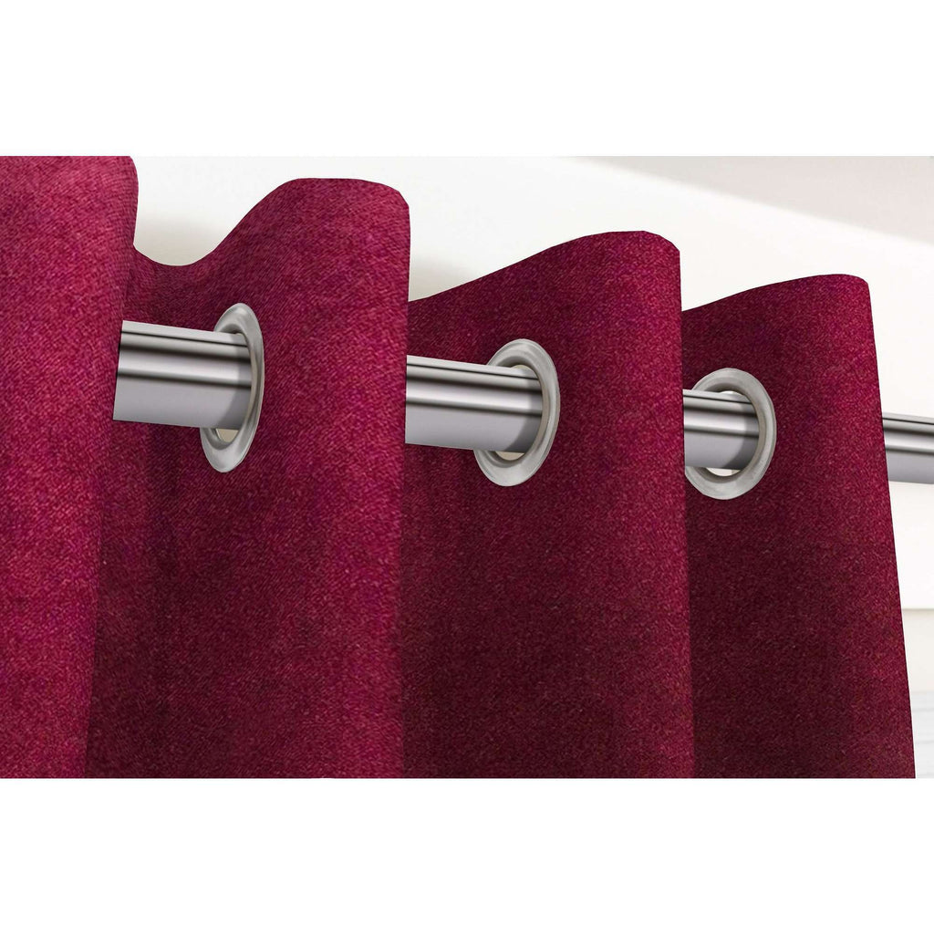 McAlister Textiles Matt Wine Red Velvet Curtains Tailored Curtains