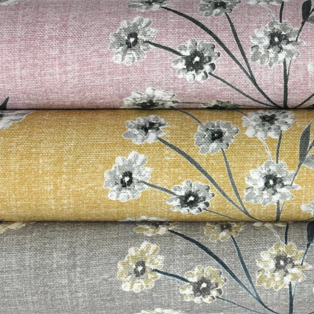 McAlister Textiles Meadow Soft Grey Floral Cotton Print Fabric Fabrics