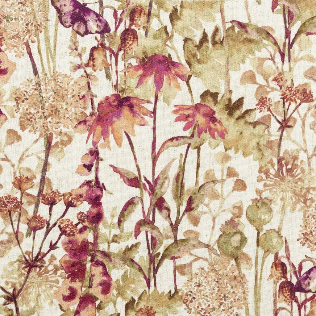 McAlister Textiles Wildflower Burnt Orange Linen Fabric Fabrics 1 Metre