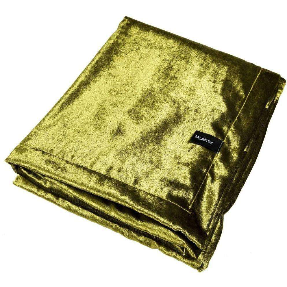 McAlister Textiles Lime Green Crushed Velvet Throws & Runners Throws and Runners