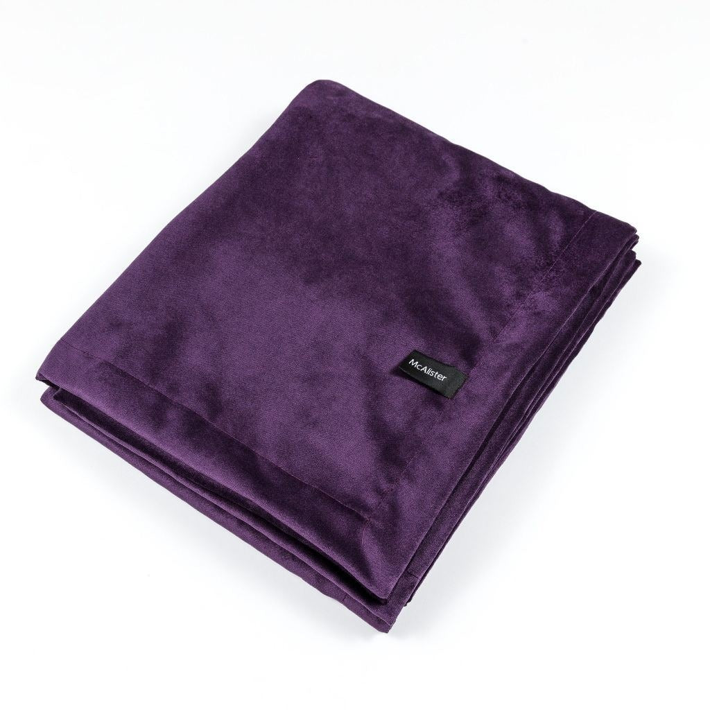 McAlister Textiles Matt Aubergine Purple Velvet Throw Blanket Throws and Runners Bed Runner (50cm x 240cm)