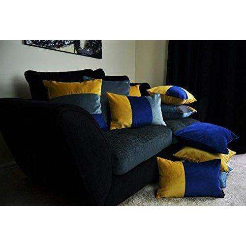 McAlister Textiles Straight Patchwork Velvet Navy, Yellow + Grey Cushion Cushions and Covers