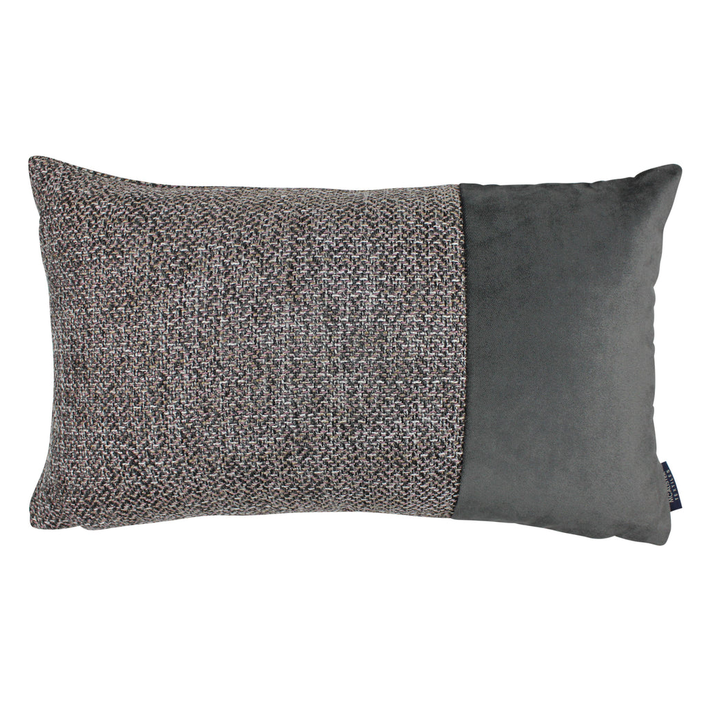 McAlister Textiles Lewis Velvet Border Tweed Pillow Grey Heather and Charcoal Pillow Cover Only 50cm x 30cm