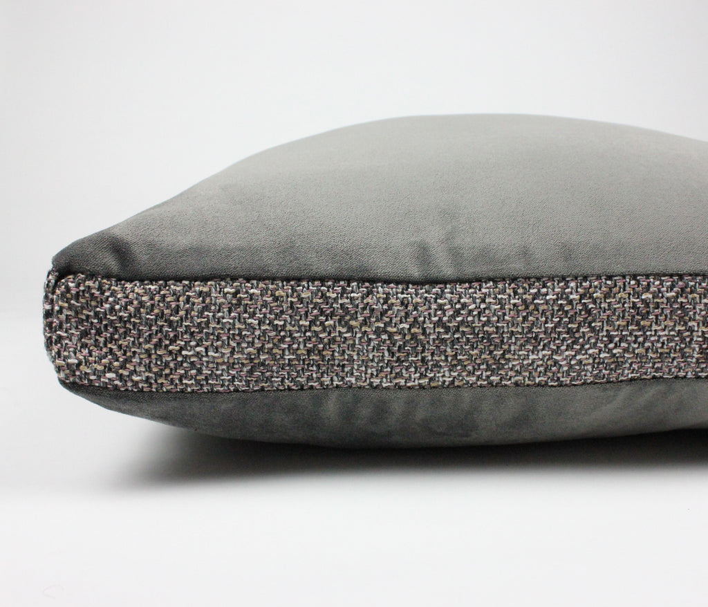 McAlister Textiles Lewis Tweed and Velvet Insert Edge Cushion Grey Heather and Charcoal Cushions and Covers