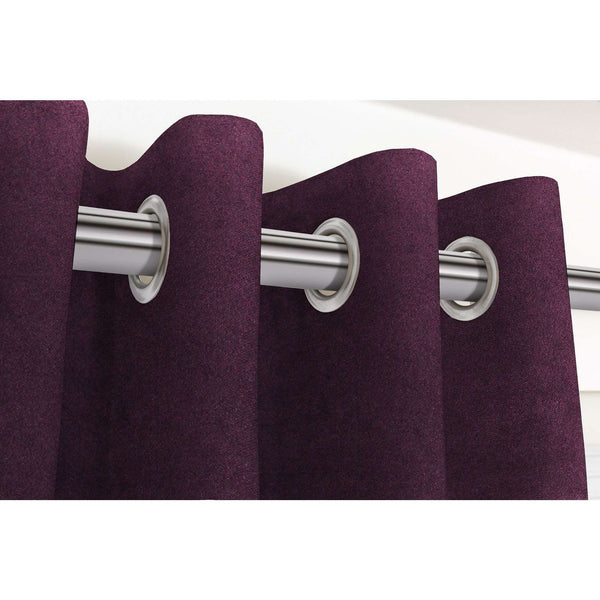 "McAlister Textiles Matt Aubergine Purple Velvet Curtains Tailored Curtains Pencil Pleat Standard Lining 116cm(w) x 137cm(d) (46"" x 54"")"