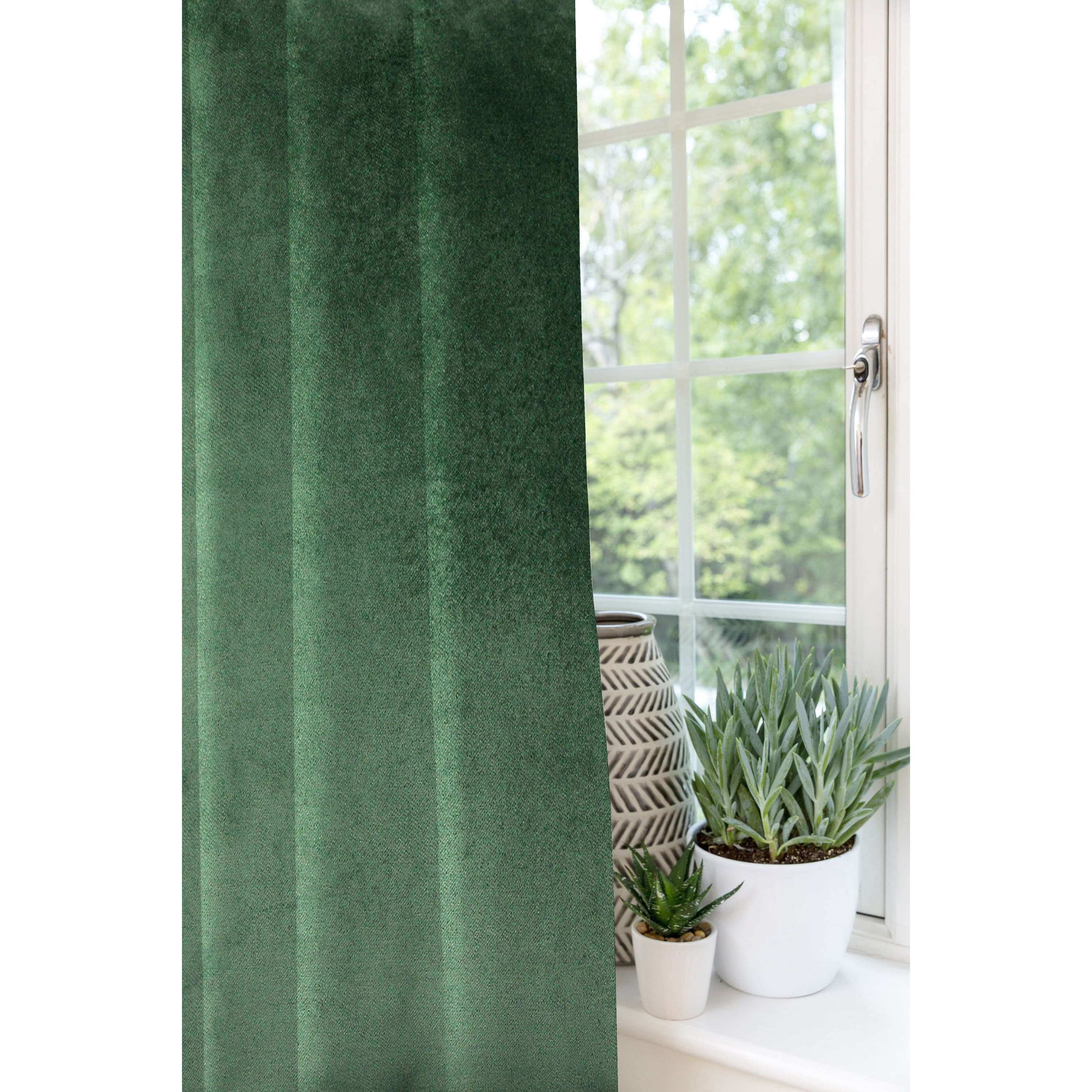 McAlister Textiles Matt Moss Green Velvet Curtains Tailored Curtains
