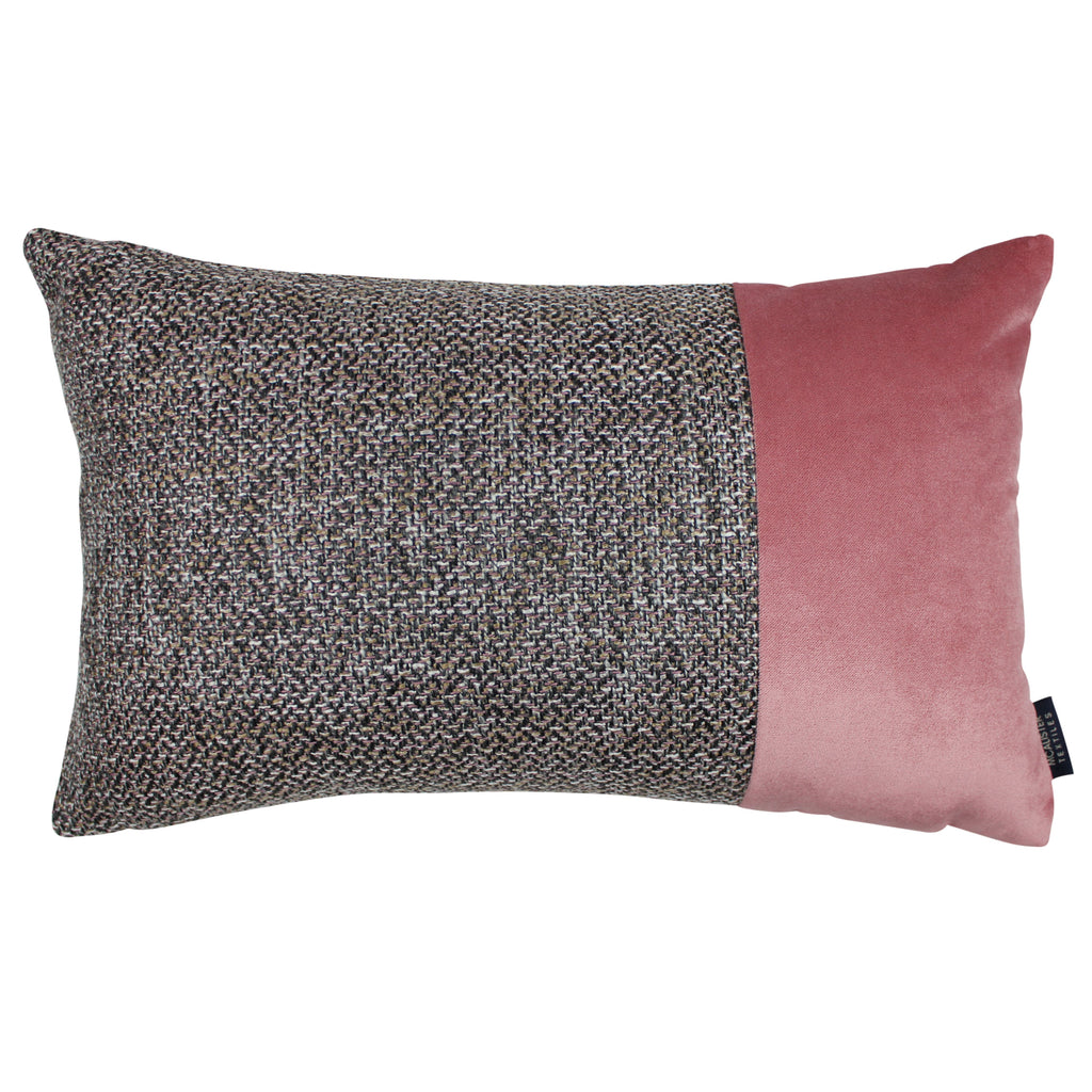 McAlister Textiles Lewis Velvet Border Tweed Cushion Grey Heather and Pink Cushions and Covers Cover Only 50cm x 30cm