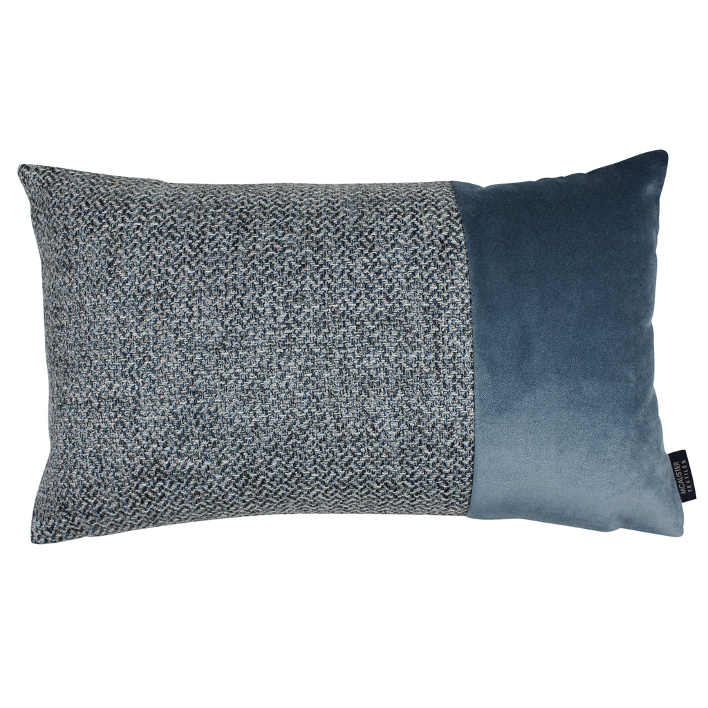McAlister Textiles Harris Velvet Border Tweed Cushion - Blue & Grey Cushions and Covers Cover Only 50cm x 30cm