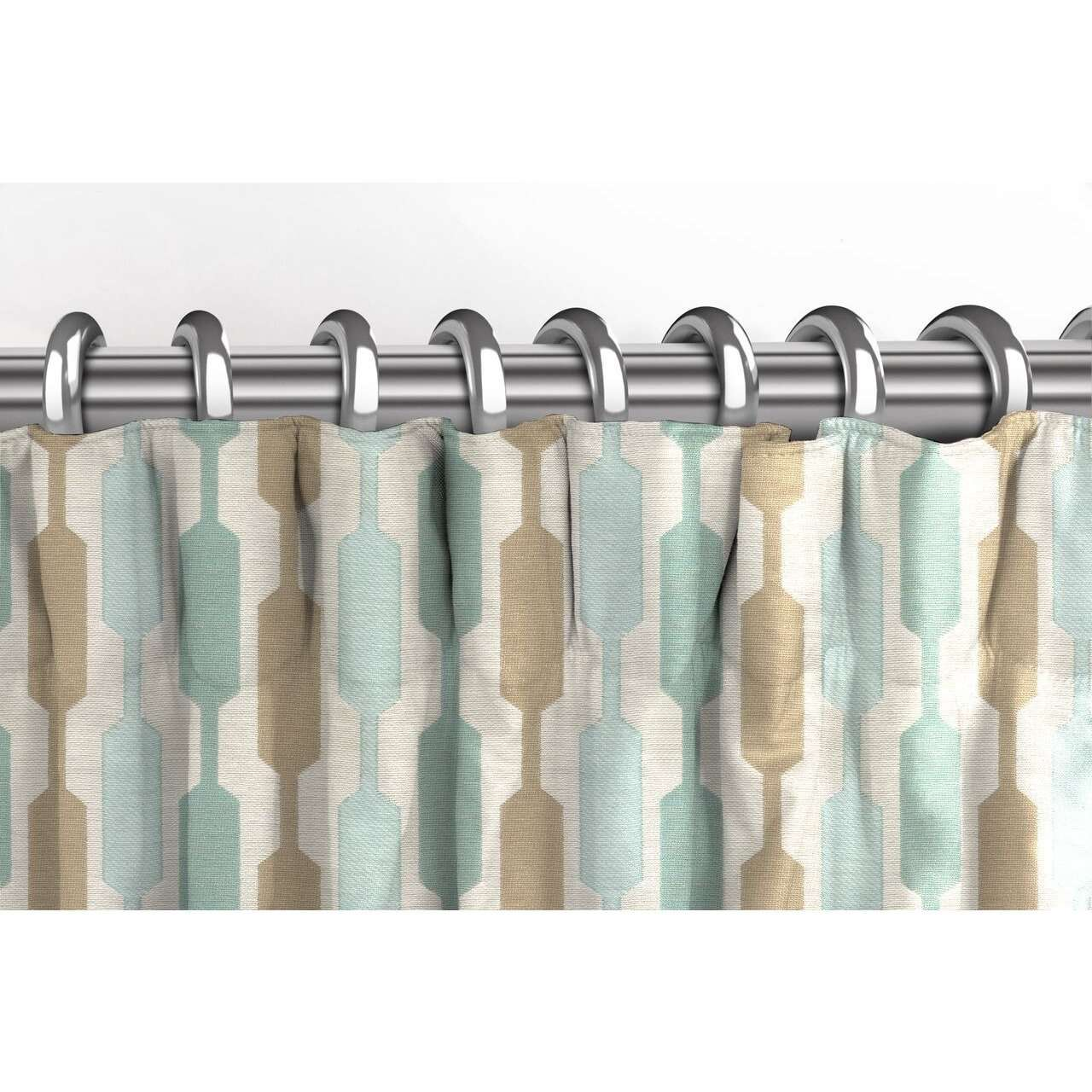 McAlister Textiles Lotta Duck Egg Blue + Beige Curtains Tailored Curtains