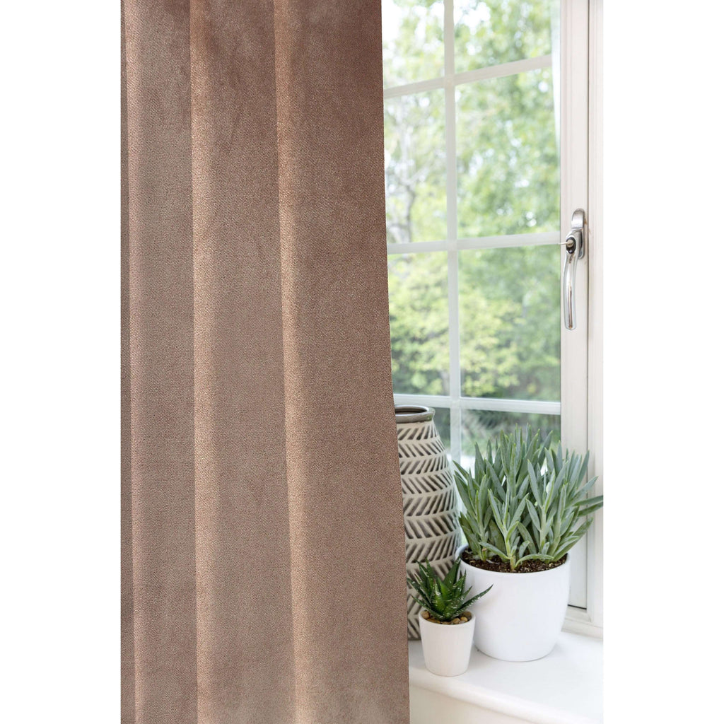 McAlister Textiles Matt Mocha Brown Velvet Curtains Tailored Curtains