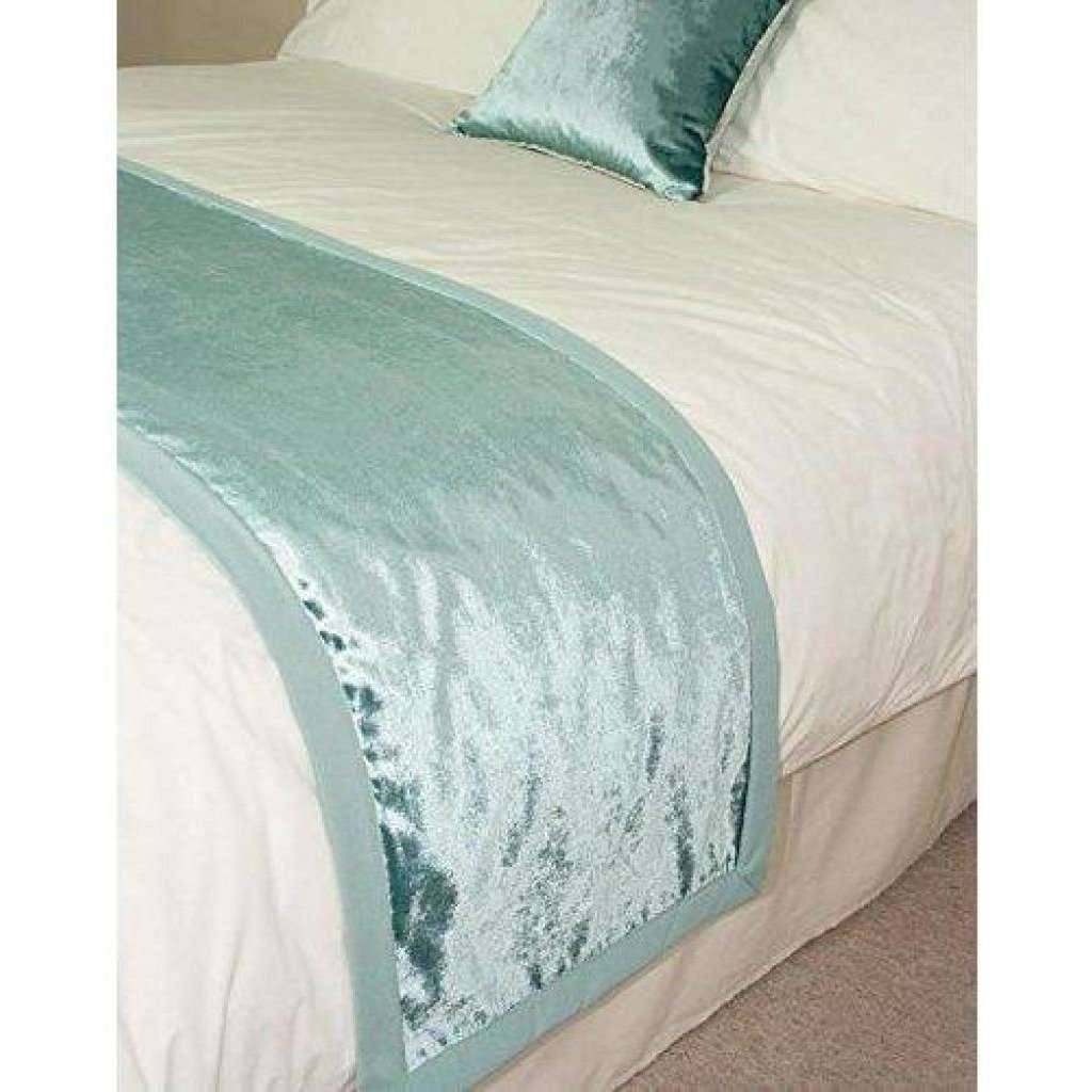 McAlister Textiles Duck Egg Blue Crushed Velvet Table Runner Throws and Runners