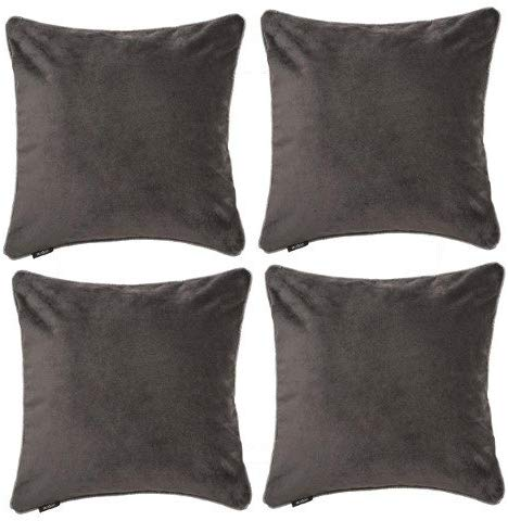 McAlister Textiles Matt Charcoal Grey Velvet 43cm x 43cm Cushion Sets Cushions and Covers Cushion Covers Set of 4