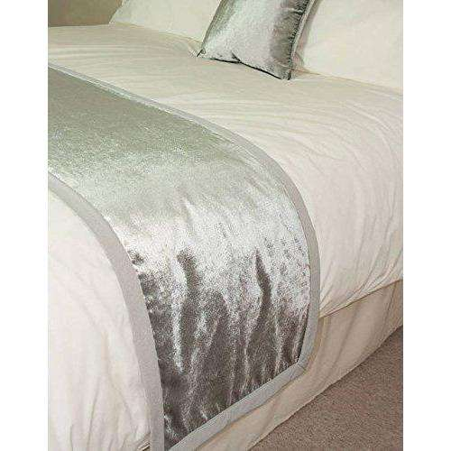 McAlister Textiles Silver Crushed Velvet Throw Throws and Runners