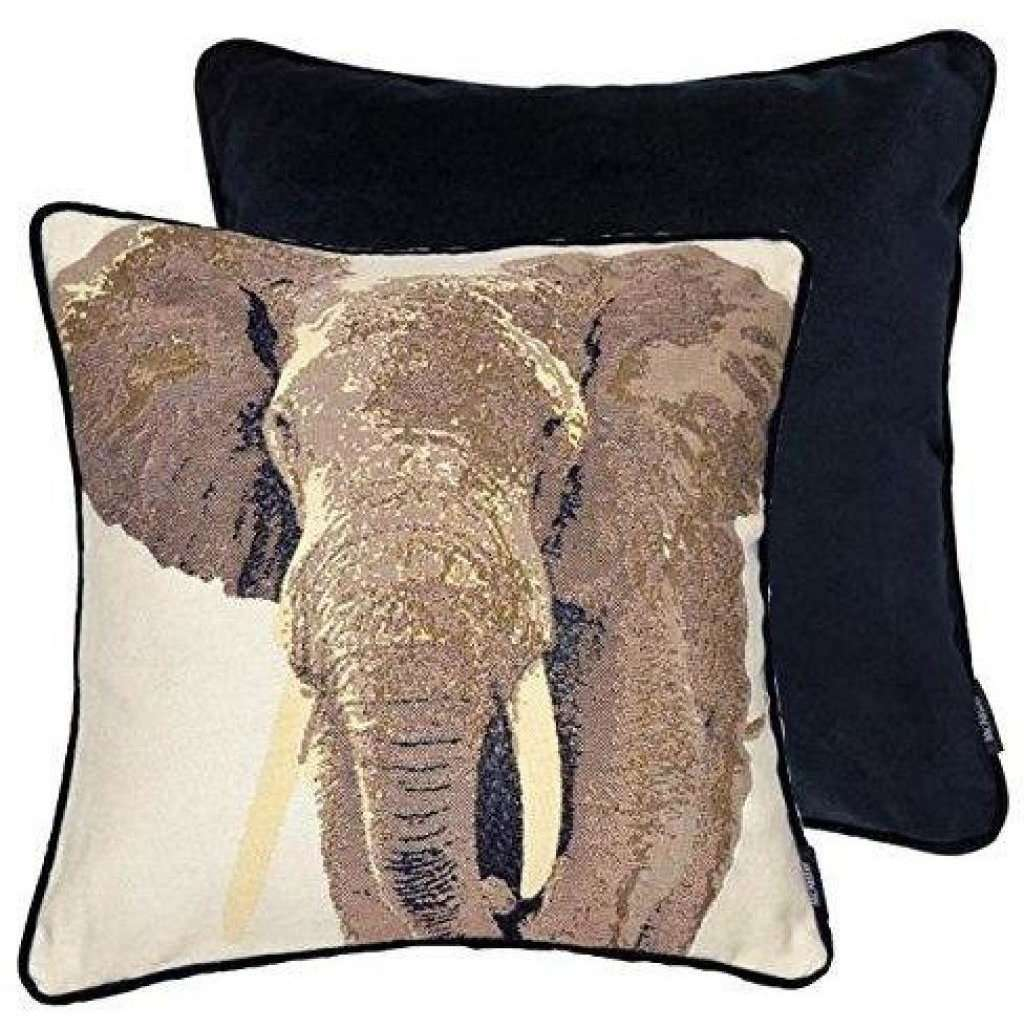 McAlister Textiles Grey Elephant Tapestry Cushion-Cushions and Covers-