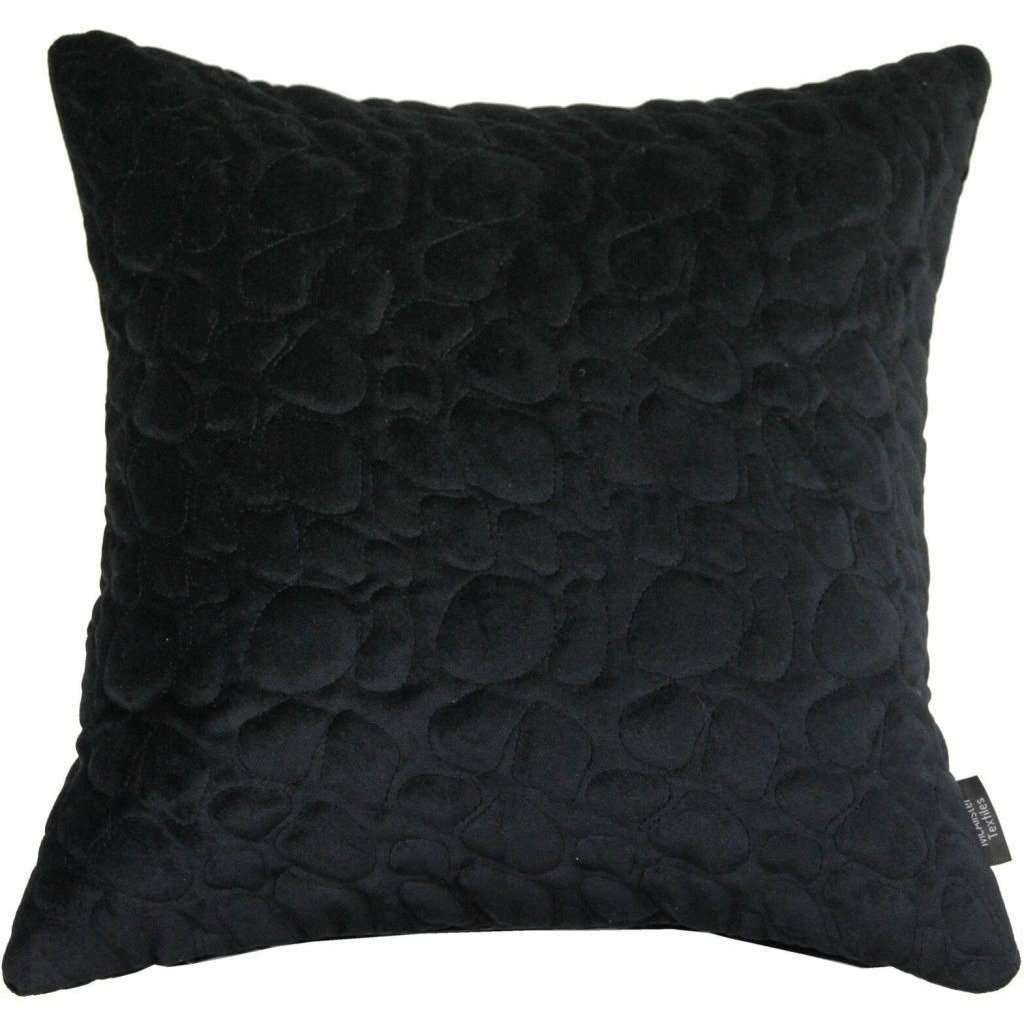 McAlister Textiles Pebble Quilted Black Velvet Cushion Cushions and Covers Cover Only 43cm x 43cm