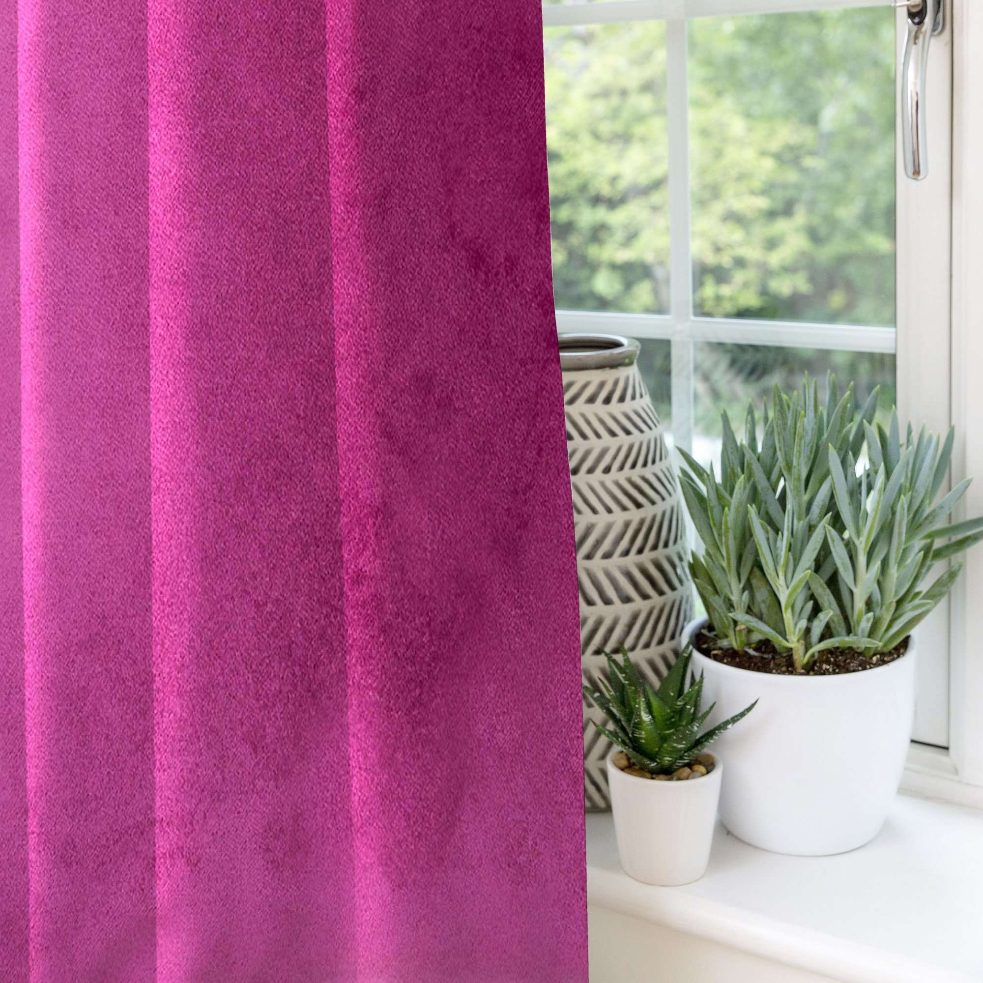 McAlister Textiles Matt Fuchsia Pink Velvet Curtains Tailored Curtains