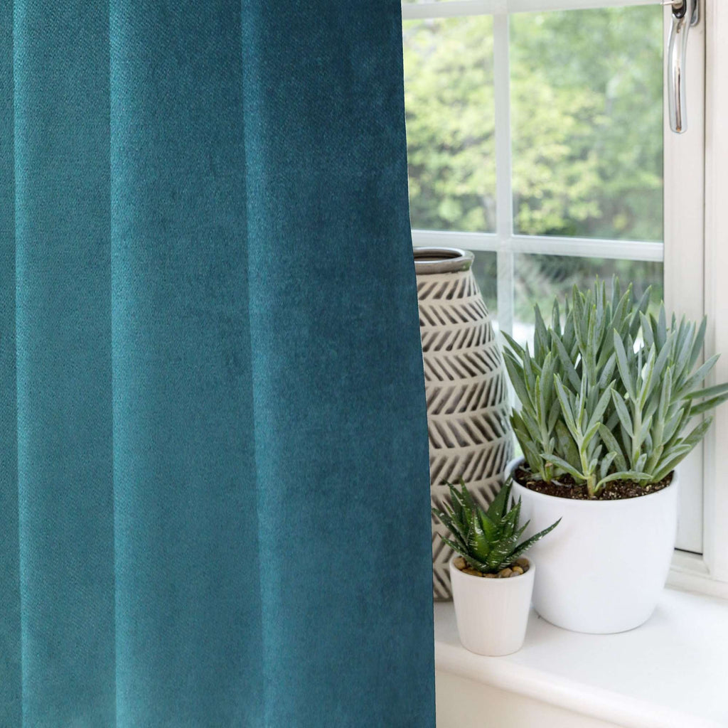 McAlister Textiles Matt Blue Teal Velvet Curtains Tailored Curtains