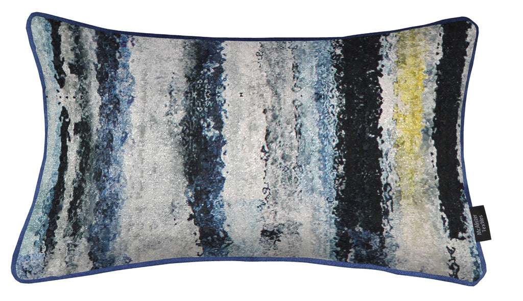 McAlister Textiles Aura Navy Blue Printed Velvet Cushions Cushions and Covers Cover Only 50cm x 30cm
