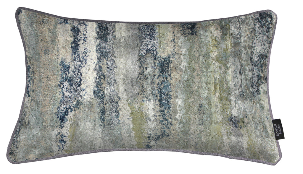 McAlister Textiles Aura Grey Natural Printed Velvet Pillow Pillow Cover Only 50cm x 30cm