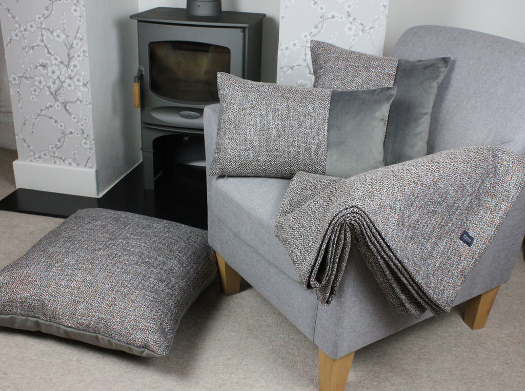McAlister Textiles Lewis Tweed Throws and Runners Grey Heather Throws and Runners