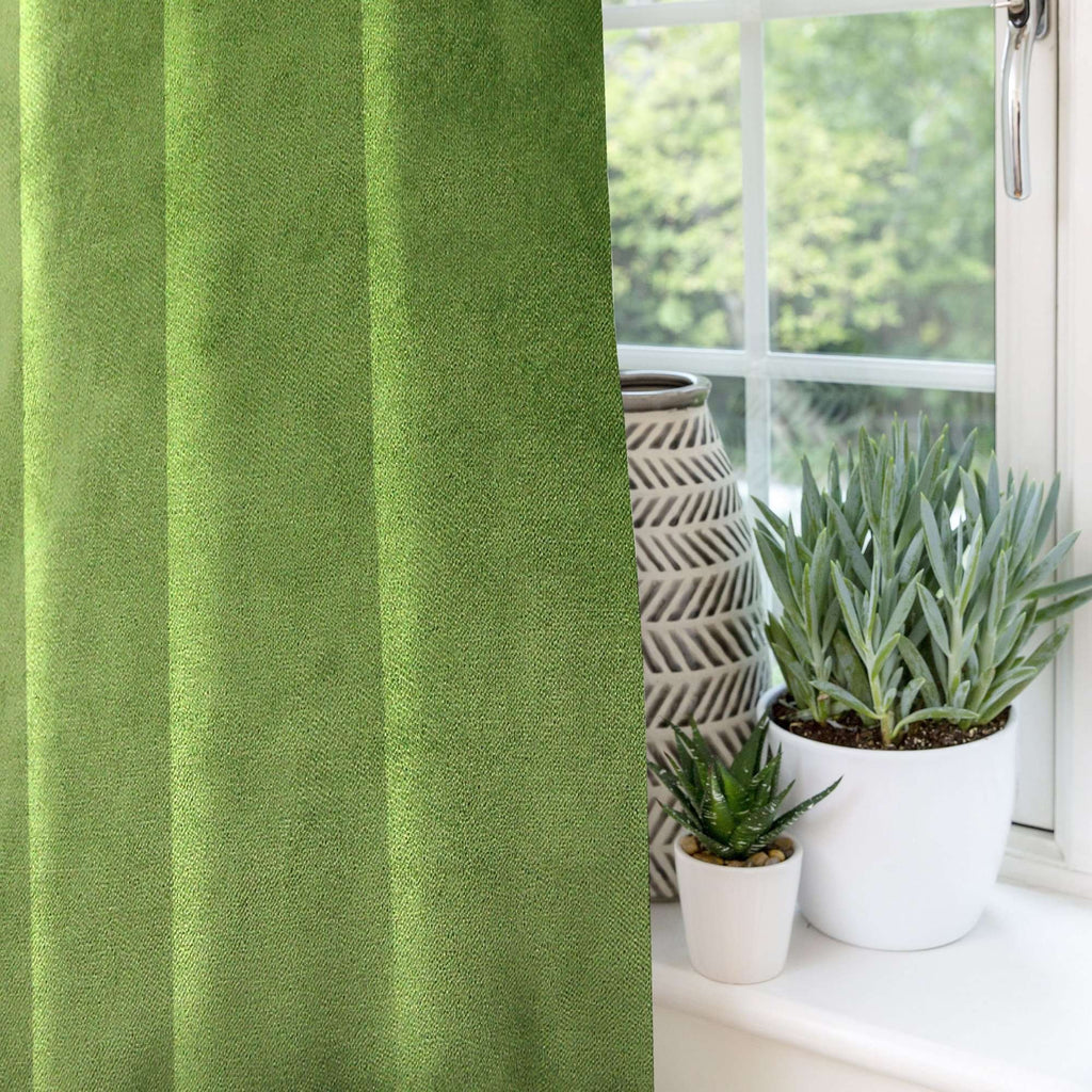 McAlister Textiles Matt Fern Green Velvet Curtains Tailored Curtains