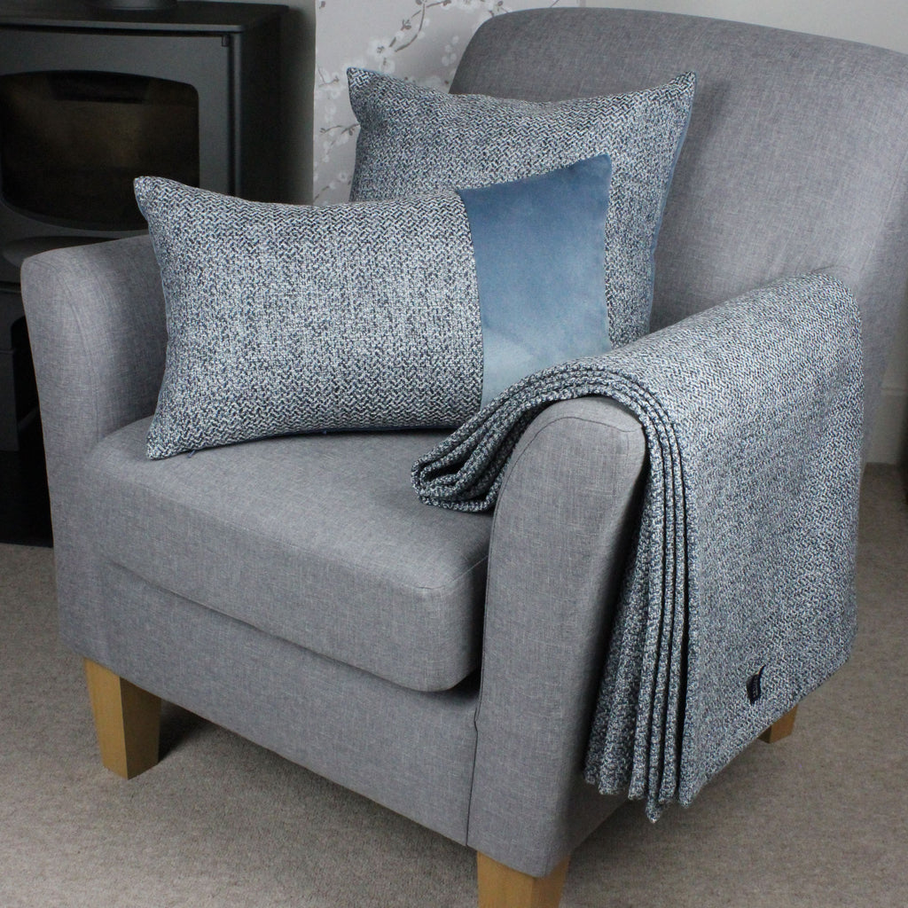 McAlister Textiles Harris Tweed Throws and Runners - Blue & Grey Throws and Runners