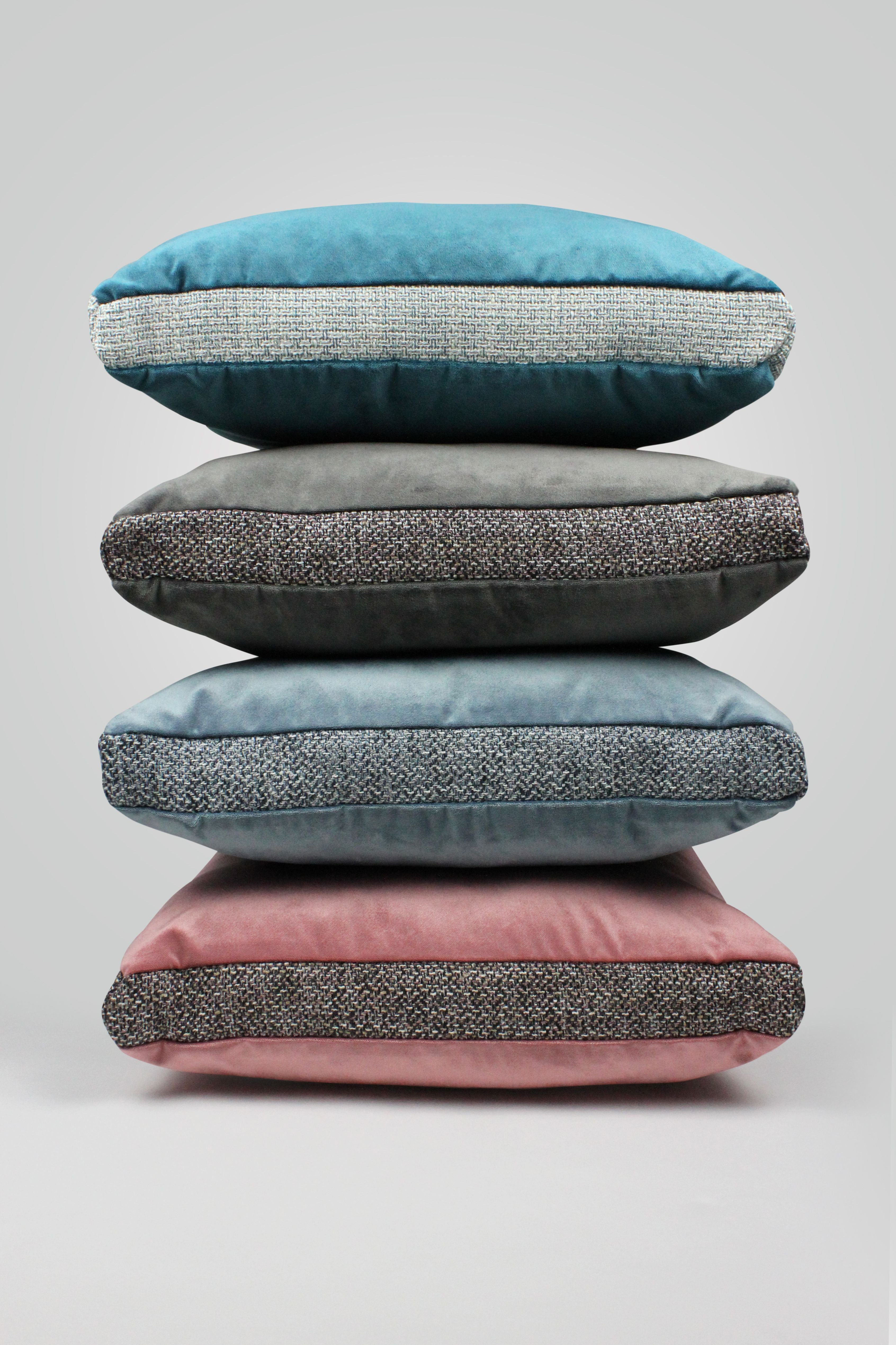McAlister Textiles Lewis Tweed and Velvet Insert Edge Cushion Grey Heather and Pink Cushions and Covers