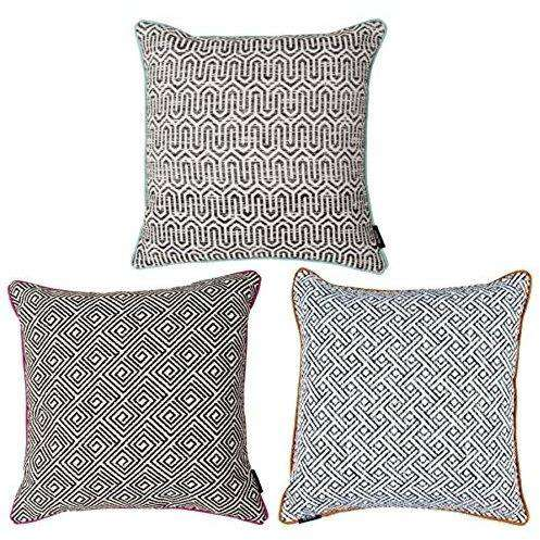 McAlister Textiles Aztec Geometric Black + White 43cm x 43cm Cushion Sets Cushions and Covers Set of 3 Cushion Covers