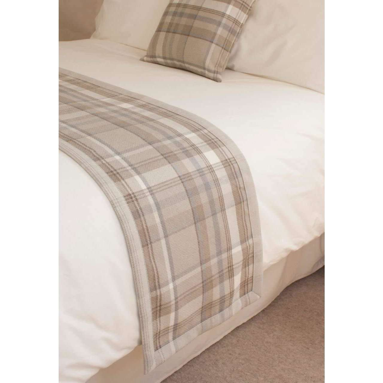 McAlister Textiles Heritage Beige Cream Tartan 43cm x 43cm Cushion Sets Cushions and Covers