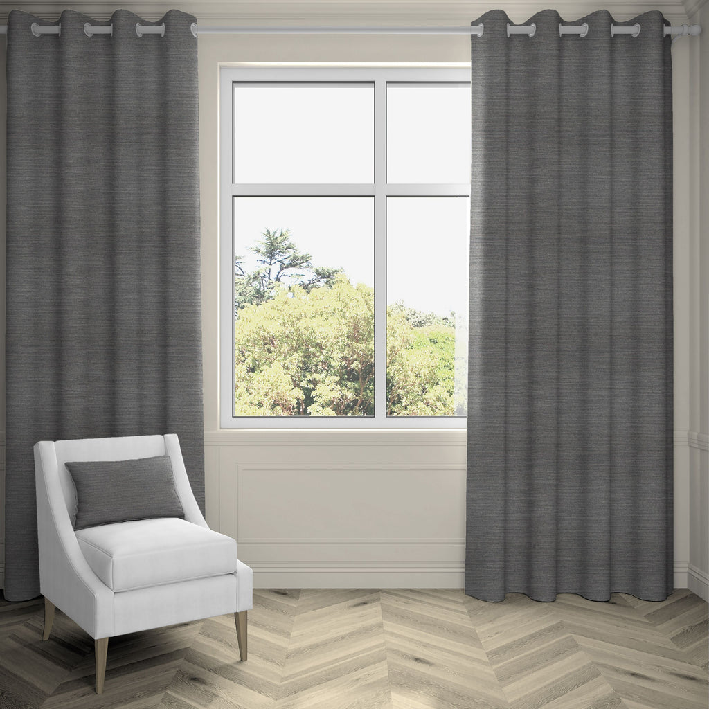 "McAlister Textiles Hamleton Charcoal Grey Textured Plain Curtains Tailored Curtains 116cm(w) x 137cm(d) (46"" x 54"")"