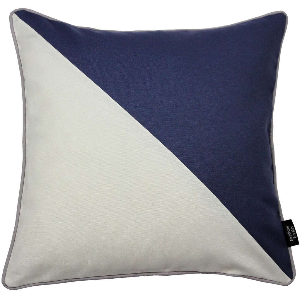 McAlister Textiles Panama Patchwork Navy Blue + Natural Cushion Cushions and Covers Cover Only 43cm x 43cm