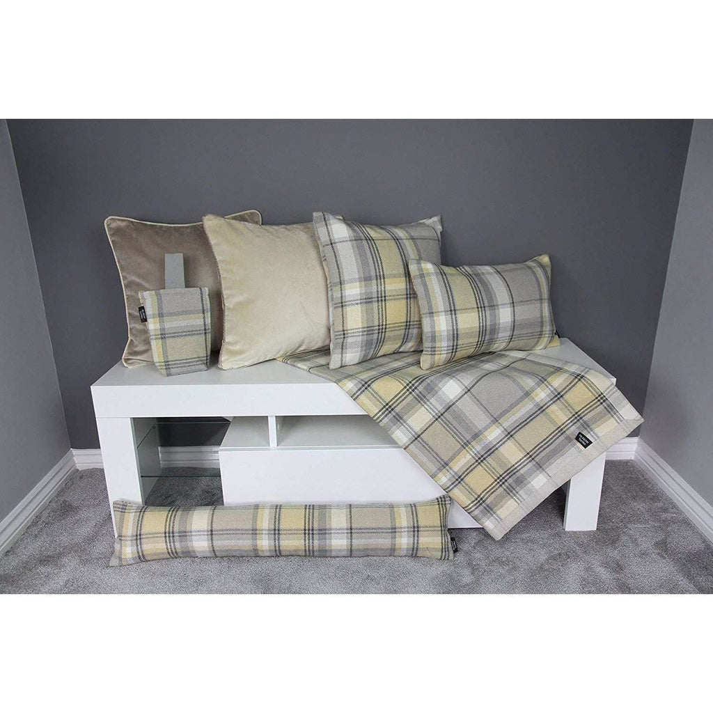McAlister Textiles Heritage Yellow + Grey Tartan Home Decor Design Set  Throws And Runners