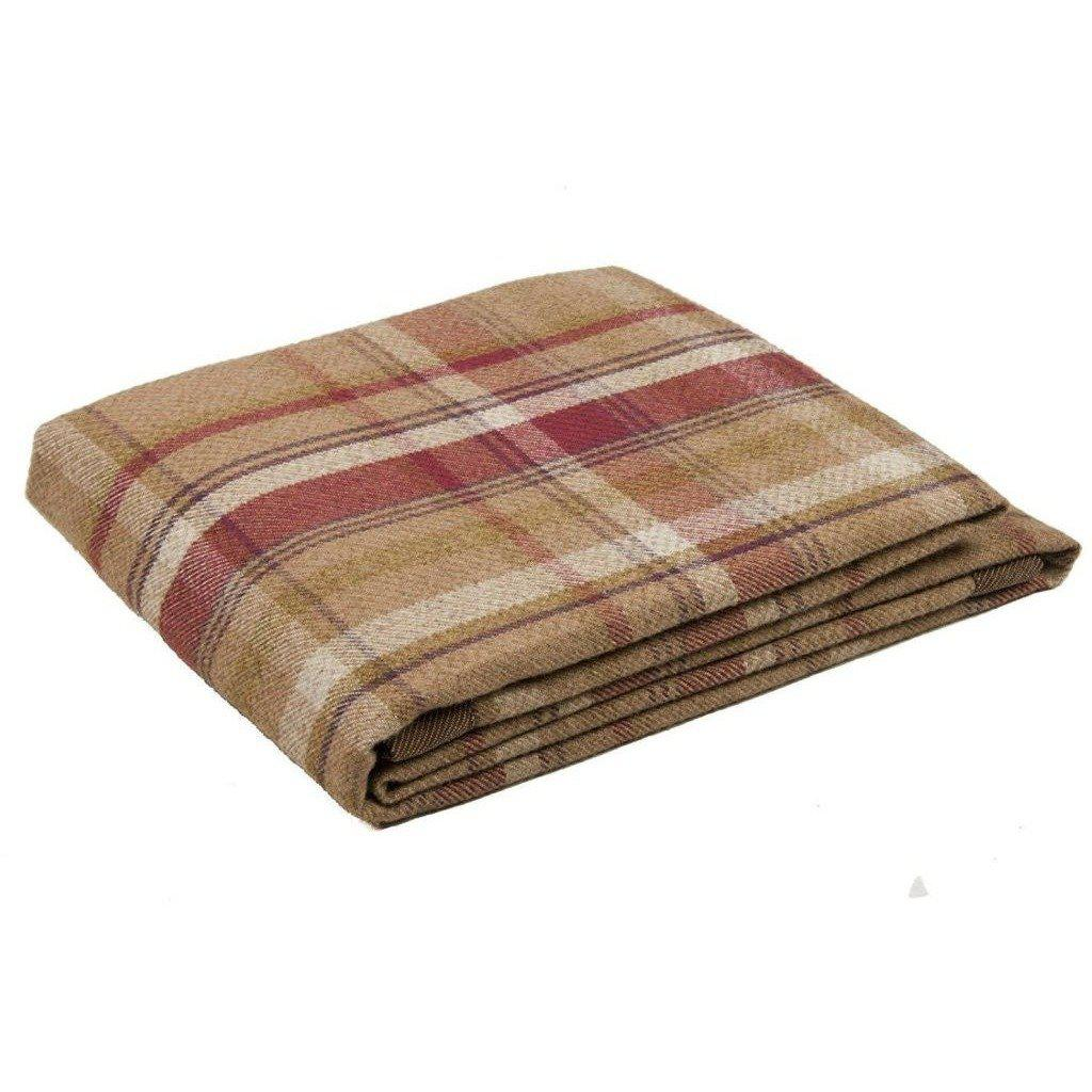 McAlister Textiles Heritage Tartan Check Purple + Green Throw Throws and Runners