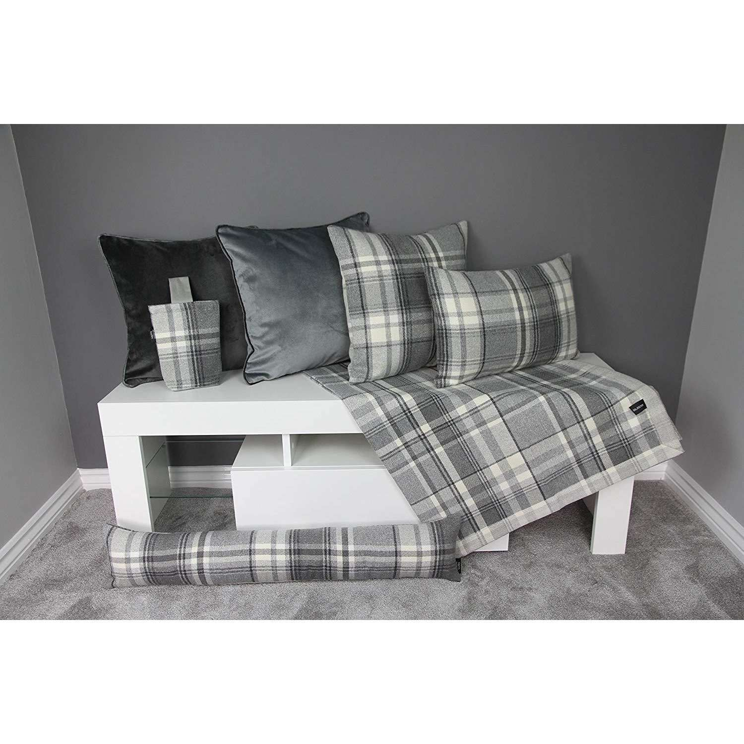 McAlister Textiles Heritage Charcoal Grey Tartan Home Decor Design Set