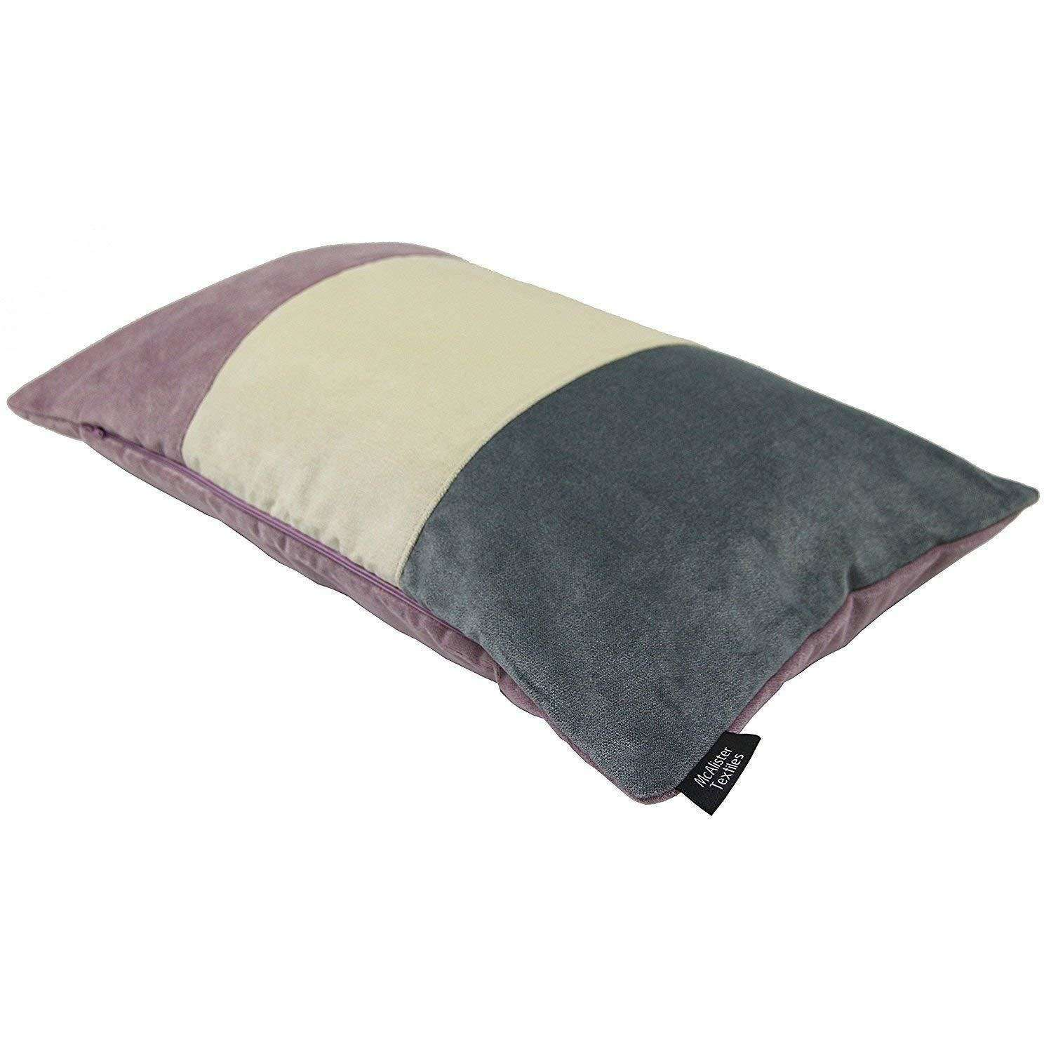 McAlister Textiles Patchwork Velvet Purple, Gold + Grey Pillow Set Pillow